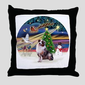 XmasMagic-AussieShep1 Throw Pillow
