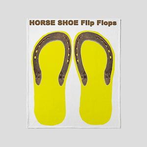 horse shoe yellow Throw Blanket