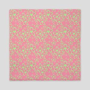 Pink and Green Flowers Queen Duvet