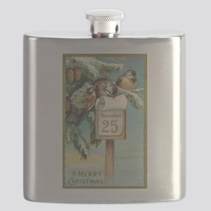 Vintage Christmas Sparrows Flask
