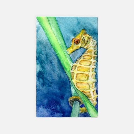 Yellow Pygmy Seahorse Study 3'x5' Area Rug