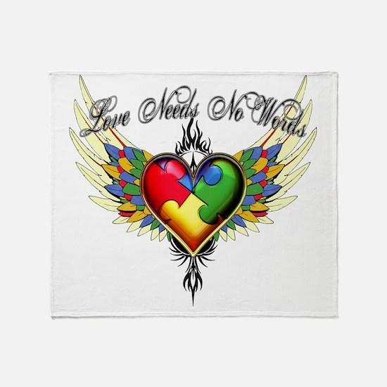 autism - Love Needs No Words Throw Blanket