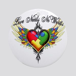 autism - Love Needs No Words Round Ornament