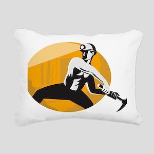 Coal Miner With Pick Ax  Rectangular Canvas Pillow