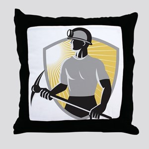 Coal Miner With Pick Ax Shield Retro Throw Pillow