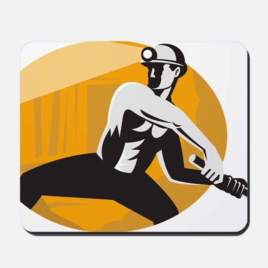 Coal Miner With Pick Ax Striking Retro Mousepad
