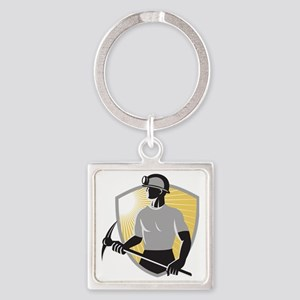 Coal Miner With Pick Ax Shield Ret Square Keychain