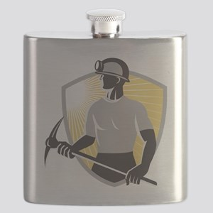 Coal Miner With Pick Ax Shield Retro Flask