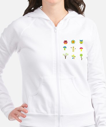 Owls, Trees and Mushrooms Fitted Hoodie