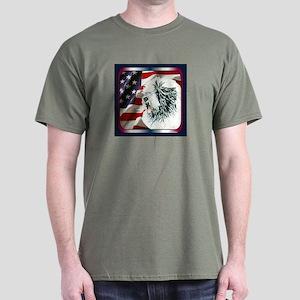 Old English Sheepdog US Flag Dark Colored T-Shirt
