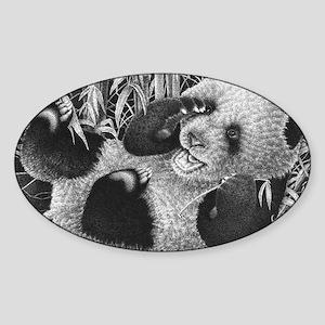 Giant Panda Cub Puzzle Sticker (Oval)