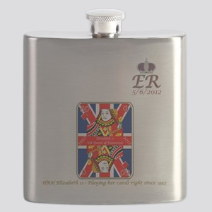 HRH diamond Jubilee playing her cards right Flask