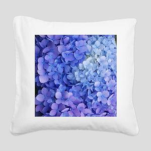 blue hydrangea cloned vert Square Canvas Pillow