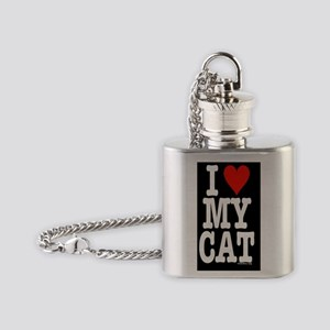 HeartCatitouch3gleft Flask Necklace