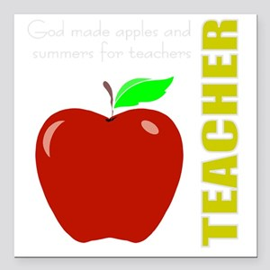 "God, Teachers, apples Square Car Magnet 3"" x 3"""