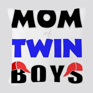 cute mom of twins Woven Throw Pillow