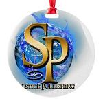 SP_BOOKCOVERLOGO_BLUEFLAME Round Ornament