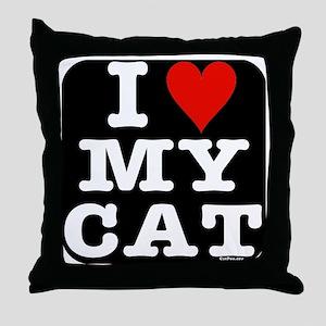HeartMyCat10x10RoundTRANS Throw Pillow