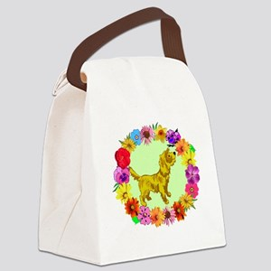 Dog in Flower Frame Canvas Lunch Bag