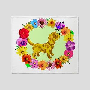 Dog in Flower Frame Throw Blanket