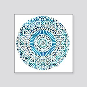 "cp mosaic circle lt blue Square Sticker 3"" x 3"""