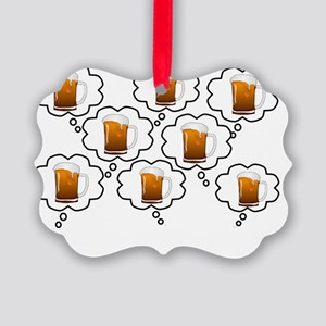 retired pharmacist thoughts beer  Picture Ornament