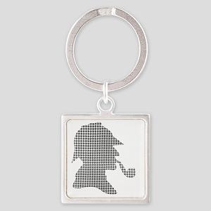 sherlock-holmes-Lore-M-fond-noir-1 Square Keychain