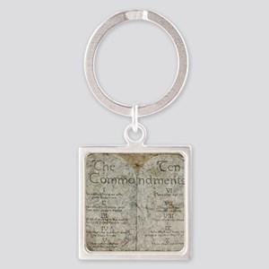10 Commandments Square Keychain