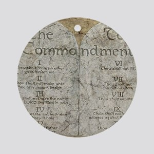 10 Commandments Round Ornament