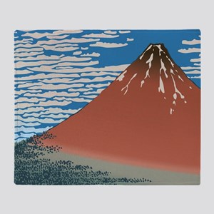 Hokusai_Red_FujiSC2 Throw Blanket