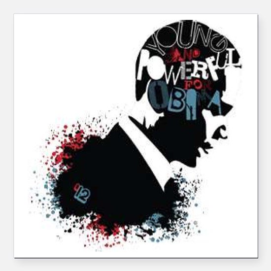 """Young and Powerful for O Square Car Magnet 3"""" x 3"""""""