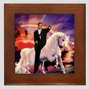Obama on Unicorn Framed Tile