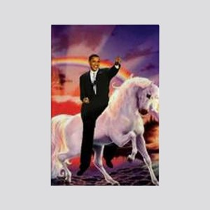 Obama on Unicorn Rectangle Magnet