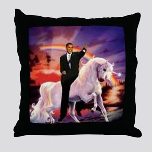 Obama on Unicorn Throw Pillow