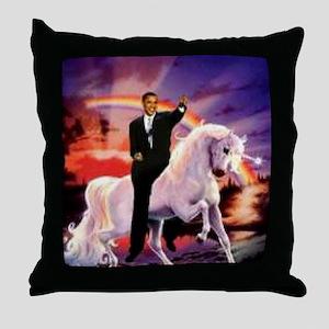 Obama on Unicorn Throw Pillow