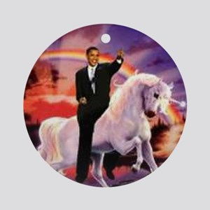 Obama on Unicorn Round Ornament