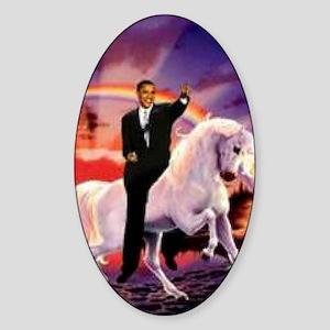 Obama on Unicorn Sticker (Oval)