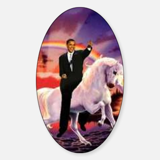 Obama on Unicorn Sticker (Oval)