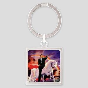 Obama on Unicorn Square Keychain