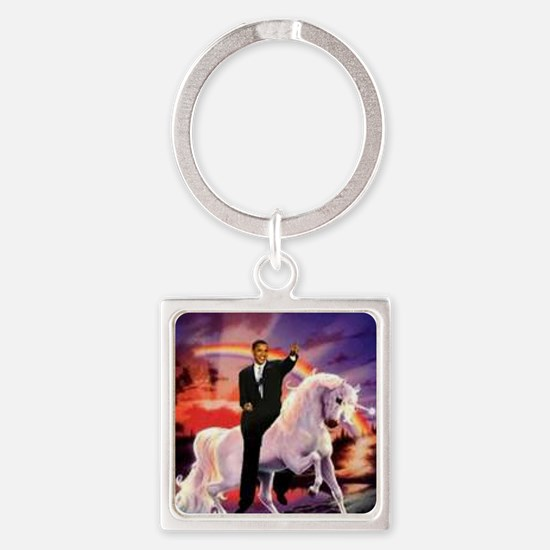 Obama on Unicorn Square Keychain