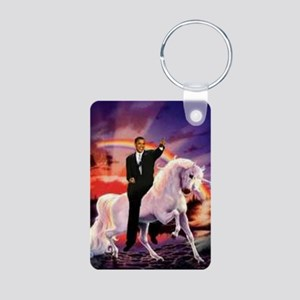 Obama on Unicorn Aluminum Photo Keychain