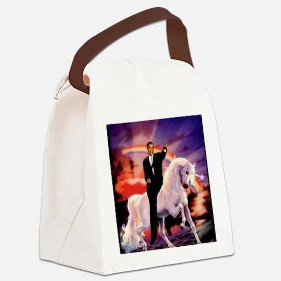 Obama on Unicorn Canvas Lunch Bag