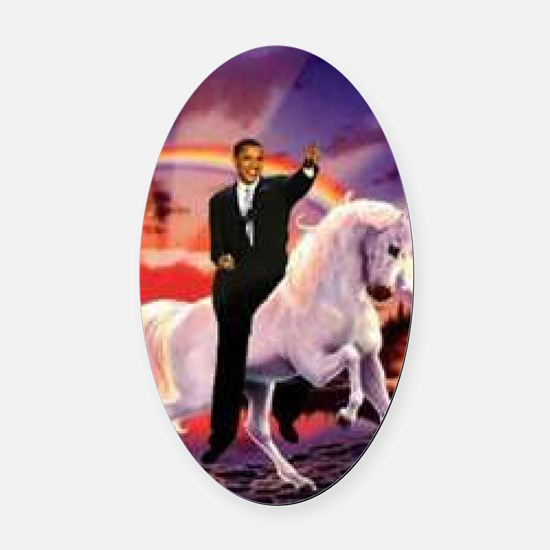 Obama on Unicorn Oval Car Magnet