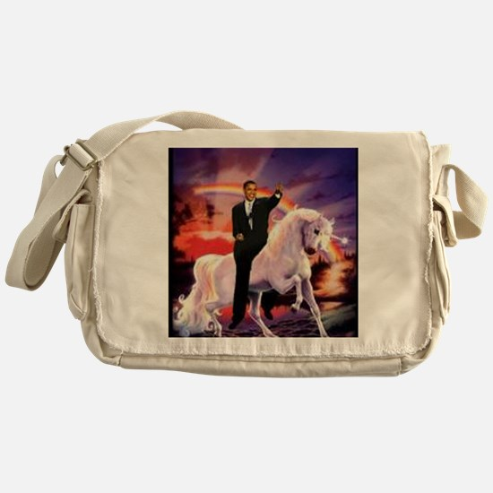 Obama on Unicorn Messenger Bag