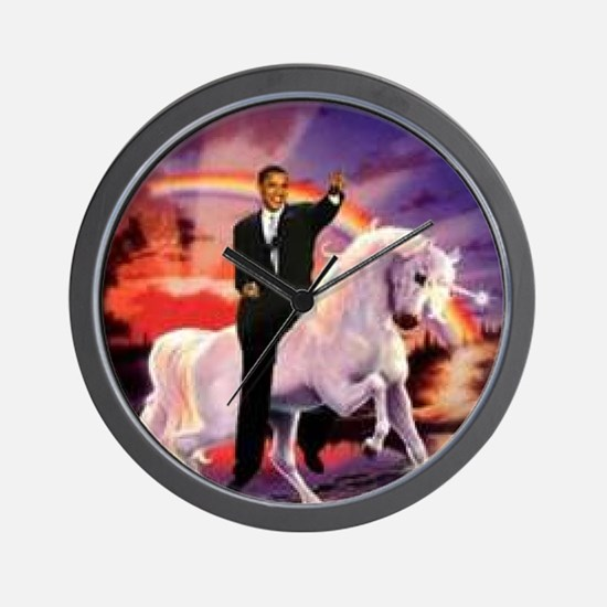 Obama on Unicorn Wall Clock