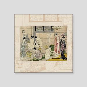 "Kiyonaga_bathhouse_women-3S Square Sticker 3"" x 3"""