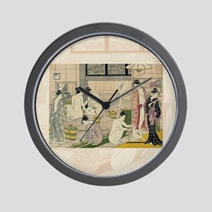 Kiyonaga_bathhouse_women-3SC Wall Clock