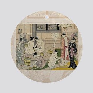 Kiyonaga_bathhouse_women-3SC Round Ornament