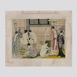 Kiyonaga_bathhouse_women-3SC Throw Blanket