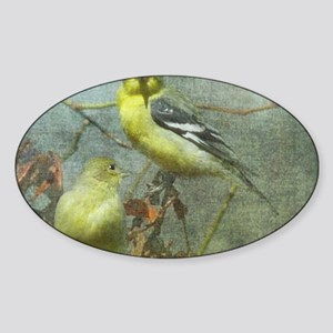 Goldfinch Pair Layered Textures Sticker (Oval)
